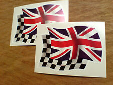 Union Jack & alterno Wavey FLAG MOTO ADESIVI auto decalcomanie 2 Largo 80mm