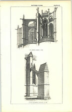 1850 Engraving Flying Buttress St Denis Paris Chapterhouse Lincoln