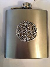 Large Celtic Open PP-G39  english pewter 6oz Stainless Steel Hip Flask