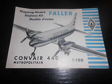 Prospekt Sales Brochure Faller Flugzeug Modell Convair 440 Airplane Kit 1:100