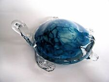 Art Glass Turtle Figurine Paperweight Blue White Clear