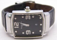 KENNETH COLE Watch Black Leather Band Black Face Nice Simple Style Analog WORKS