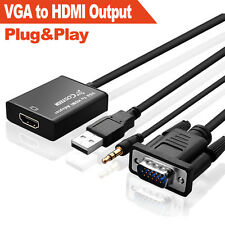 Hd 1080p VGA to Hdmi Adapter Output Tv Av Hdtv Video Cable with Audio for Laptop