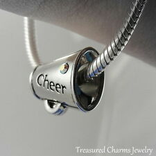 Silver CHEER Megaphone Cheerleader LARGE HOLE BEAD CHARM fits EUROPEAN Bracelet