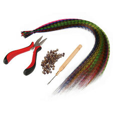 Feather Hair Extension Kit With 20 Synthetic Feathers, 50 Beads, 1 Plier& 1 Hook