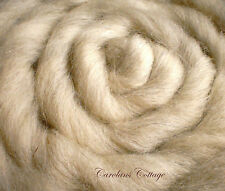 Wool Roving 4 ounces Billow Off White USA Fiber Spinning Felting Dyeing Crafts