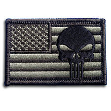Punisher American US Flag Military Army MORALE Green Patch Iron On Harley Biker