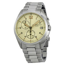 Hamilton Khaki Pilot Pioneer Chronograph Beige Dial Stainless Steel Mens Watch