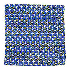 SANTOSTEFANO Handmade Blue Yellow Geometric Silk Pocket Square Handkerchief $150