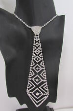 New Women Fashion Necklace Trendy Neck Tie Multi Silver Rhinestones Jewelry