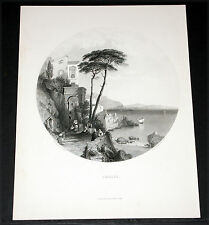 "1880 BRITISH ART PRINT-STEEL ENGRAVING, ""AMALFI"" BY G.E. HERING!"