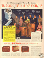 VTG 1941 RCA Victor Victrola MAGIC BRAIN Record Player & Portable Music Radio AD