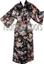 New Womens Jet Black Japan Geisha Girl Bathrobe Kimono Robe Housecoat Gift Idea