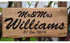 Personalised Mr and Mrs Surname Sign Wedding Top Table Freestanding Date Custom