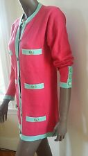 Ex CHANEL SWEATER COAT cardigan  cashmere  pink turquoise  gold CC button 38 M