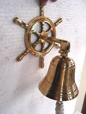 Nautical Marine Navy Brass Wheel Wall Hanging Ship Bell Ross london New Art Dec