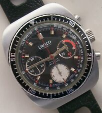 Lanco chronograph mens wristwatch steel case 38 mm in diameter cal. Valjoux 7736