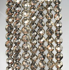 """6MM HEMATITE GEMSTONE PYRITE TONE FACETED ROUND 6MM LOOSE BEADS 16"""""""
