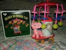 VTG Merry Go Round Car Carousel Elephant Celluloid Tin Wind Up Toy with Box-Mint