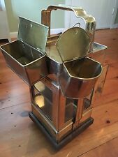 ANTIQUE BRASS GLASS ASIAN CHINESE FOOD WARMER CART BAR COCKTAIL SERVER w/CASTERS