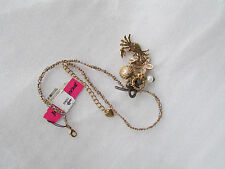 NEW Betsey Johnson Necklace By The Sea Crab Starfish Oyster Cluster Charms