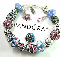 Authentic Pandora Silver Charm Bracelet with European Charms Love butterfly