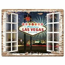 PP0611 French Window Las Vegas Plate Chic Sign Shop Store Cafe Home Room Decor