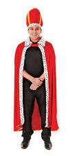 Mens Royal Red & Fur Trimmed Cloak & Hat Fancy Dress Costume King Royalty New