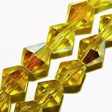 FACETED GLASS BICONE BEADS BRIGHT YELLOW AB COLOR  6MM STRANDS