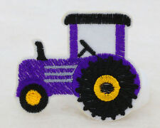 NEW 2PCS purple 48*65mm tractor Embroidered Iron On Patch Clothes Appliques DIY