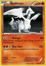 BLACK AND WHITE POKEMON REV HOLO CARD - RESHIRAM 26/144