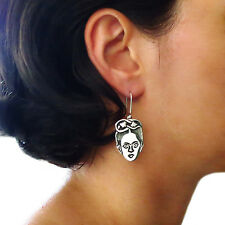 Frida Kahlo 925 Sterling Taxco Silver Drop Earrings