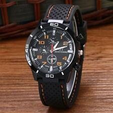 Men Military Quartz Watches Sport Silicone Band Stainless Steel Wristwatch D1