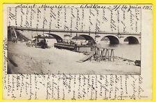 cpa Dos 1900 - ROANNE (Loire) Le PONT Attelage Cachet CONVOYEUR Roanne a Chalon