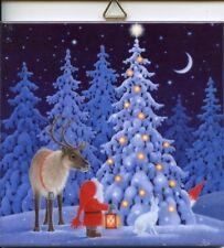 Scandinavian Ceramic Tile Trivet Hot Pad Eva Melhuish Tomte Gnome Reindeer Eva62