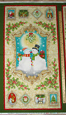 "Silver Mistletoe Snowmen by Benartex Christmas Fabric 23"" Panel  #0845M"