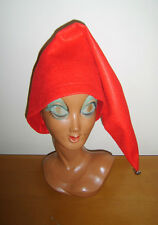 Red Pointed Hat Elf Gnome Pixie Dwarf Fairy Tale Fancy Dress Costume Size L/XL