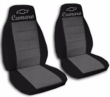 Fits 2010 to 2015 Chevrolet Camaro Black and Charcoal Seat Covers ABF