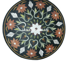 "24"" Marble Round Table Top Jasper Floral Mosaic Inlay Hallway Decor H940"