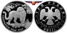 Russia 3 rubles 2011 Southwest Asian Leopard Silver 1 oz PROOF