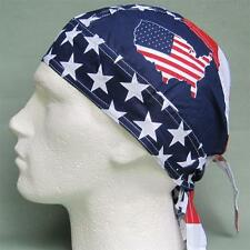 USA Flag Map Red White Blue Bandana Ready Tied Du Rag Sun Hat Bandanna Fitted