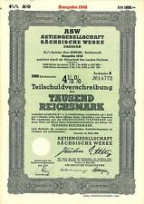 4,5 % Teilschuldverschreibung  AG Sächsische Werke 1000 RM 1940 Dresden  +Kupons