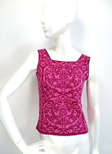 OLEANA Silk Wool Sleeveless Sweater Tank Top Romantic Pink Purple Floral size S