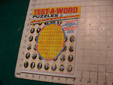 Unused High Grade: TEST-A-WORD Puzzles THE PRESIDENTS july 1974, HTF UNUSED
