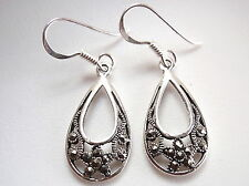 Marcasite Drops Earrings with Rope Style Accents 925 Sterling Silver Dangle