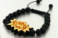 Swag WOODEN MACRAME 10MM GOOD BEADED WOOD BRACELET + FREE EARRINGS HIPHOP BLACK