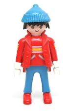 "Playmobil Figure Christmas Winter Fun Man w/ Red Jacket Blue Knit Hat ""Gloves"""