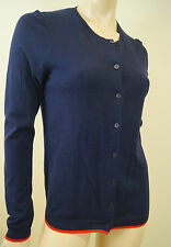 INES DE LA FRESSANGE UNIGLO Navy Blue Red Cotton & Cashmere Long Sleeve Cardigan