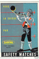 SUISSE Switzerland Schweiz  COSTUME MATCHBOX LABEL CARD 60s