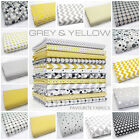 GREY & YELLOW 100% COTTON FABRIC by the metre CHEVRON TRIANGLE GEOMETRIC stars